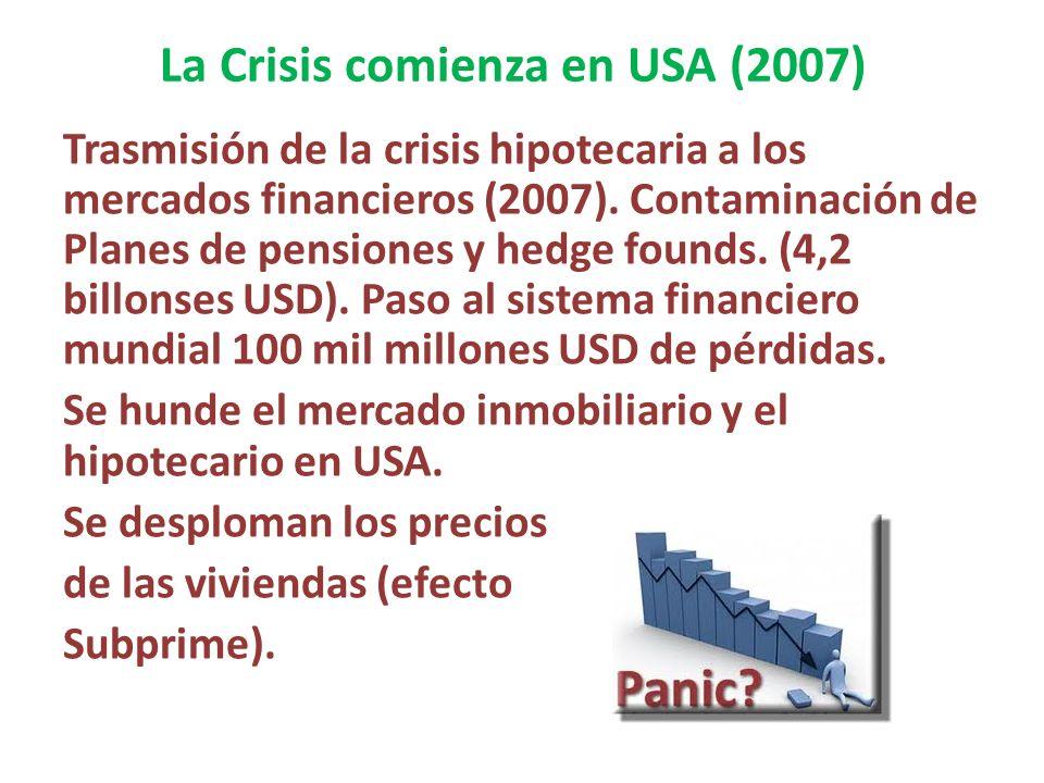 La Crisis comienza en USA (2007) Trasmisión de la crisis hipotecaria a los mercados financieros (2007). Contaminación de Planes de pensiones y hedge f