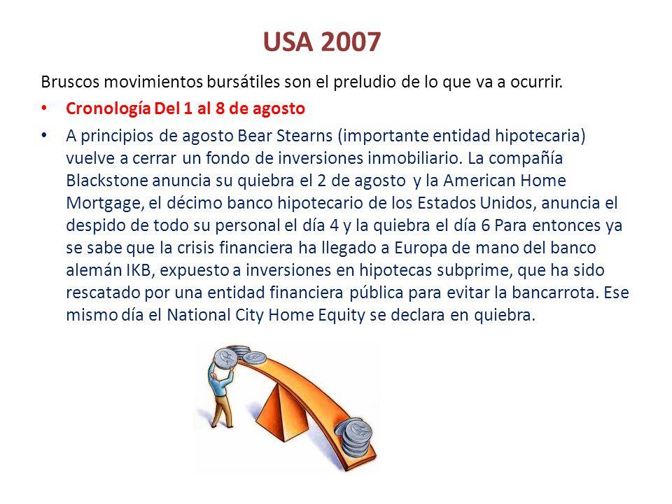 USA 2007 Bruscos movimientos bursátiles son el preludio de lo que va a ocurrir. Cronología Del 1 al 8 de agosto A principios de agosto Bear Stearns (i