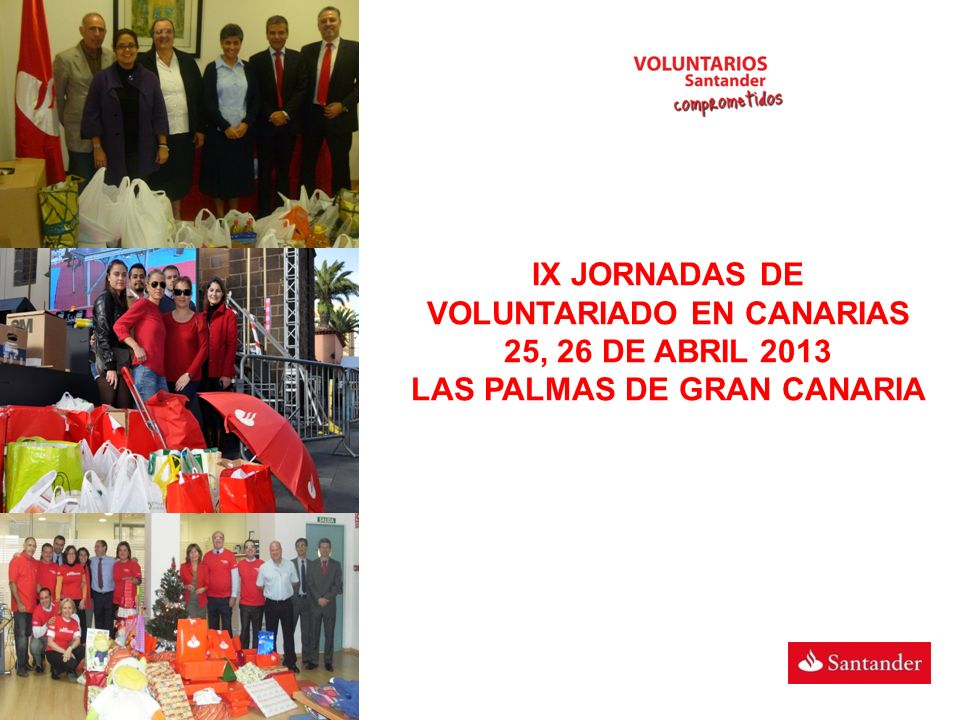 IX JORNADAS DE VOLUNTARIADO EN CANARIAS 25, 26 DE ABRIL 2013 LAS PALMAS DE GRAN CANARIA