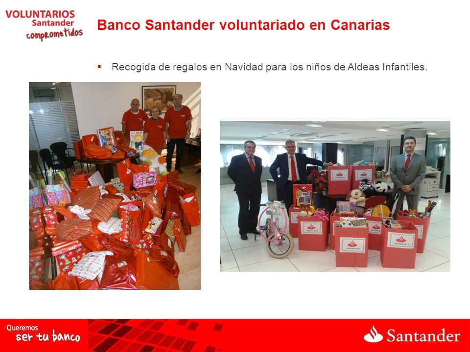 Recogida de regalos en Navidad para los niños de Aldeas Infantiles. Banco Santander voluntariado en Canarias