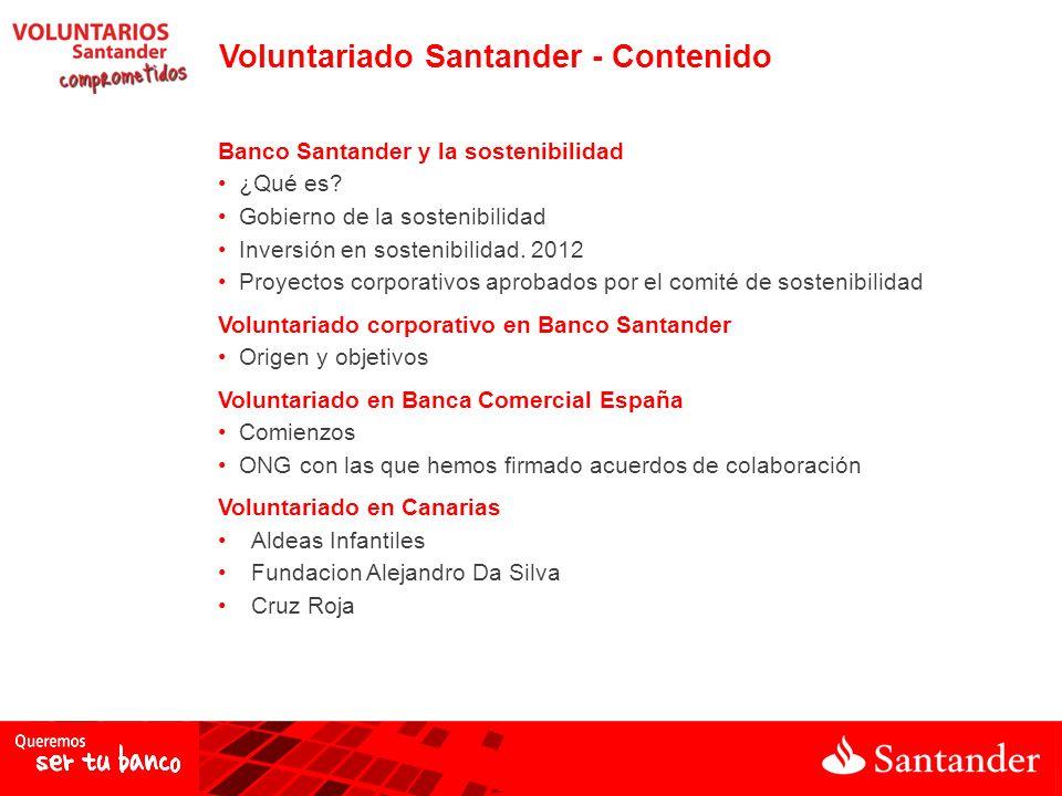 Banco Santander y la sostenibilidad ¿Qué es? Gobierno de la sostenibilidad Inversión en sostenibilidad. 2012 Proyectos corporativos aprobados por el c