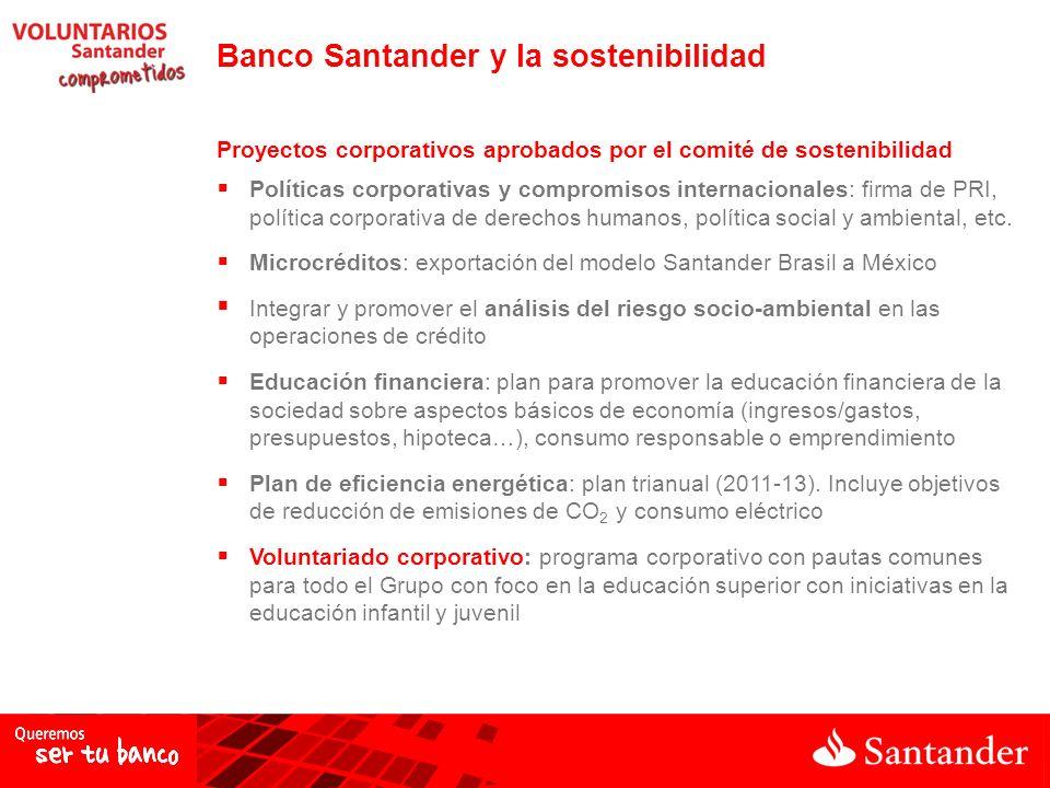 Banco Santander y la sostenibilidad Proyectos corporativos aprobados por el comité de sostenibilidad Políticas corporativas y compromisos internacionales: firma de PRI, política corporativa de derechos humanos, política social y ambiental, etc.