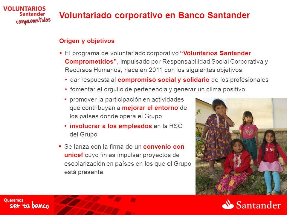 Voluntariado corporativo en Banco Santander Origen y objetivos El programa de voluntariado corporativo Voluntarios Santander Comprometidos, impulsado