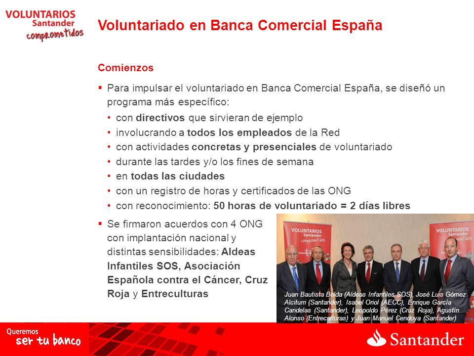 Voluntariado en Banca Comercial España Comienzos Para impulsar el voluntariado en Banca Comercial España, se diseñó un programa más específico: con di