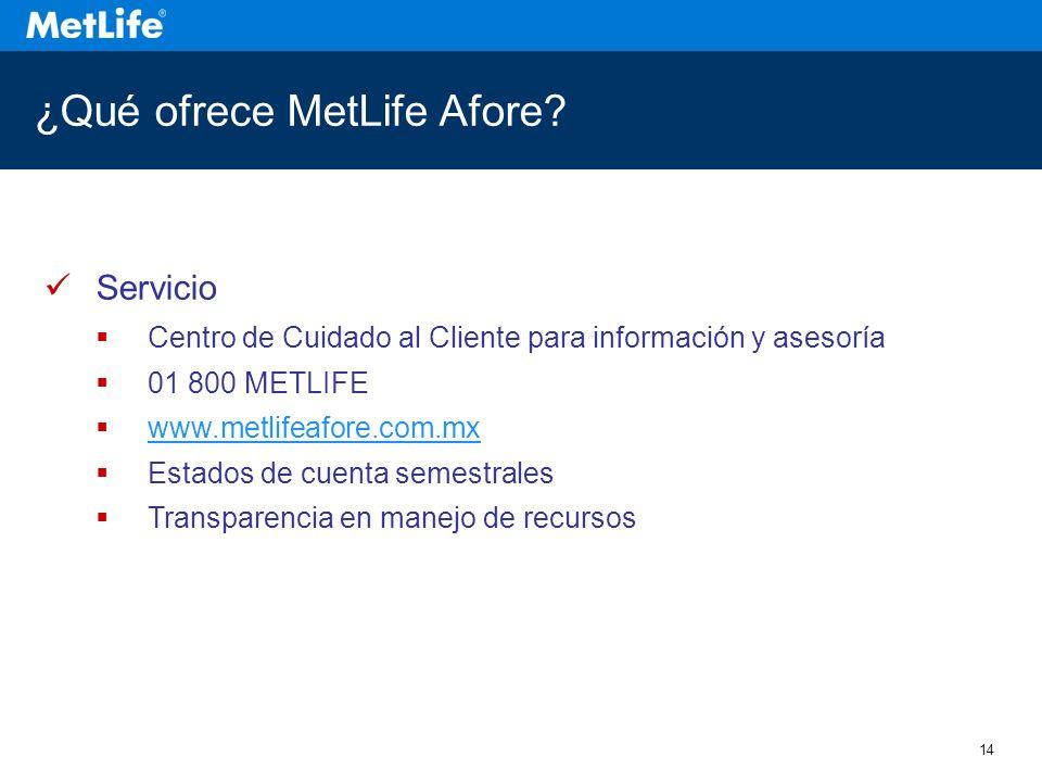 14 ¿Qué ofrece MetLife Afore.