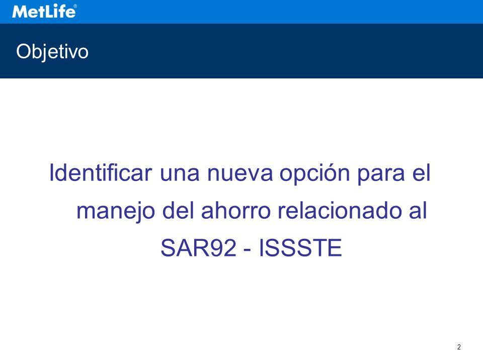 2 Objetivo Identificar una nueva opción para el manejo del ahorro relacionado al SAR92 - ISSSTE