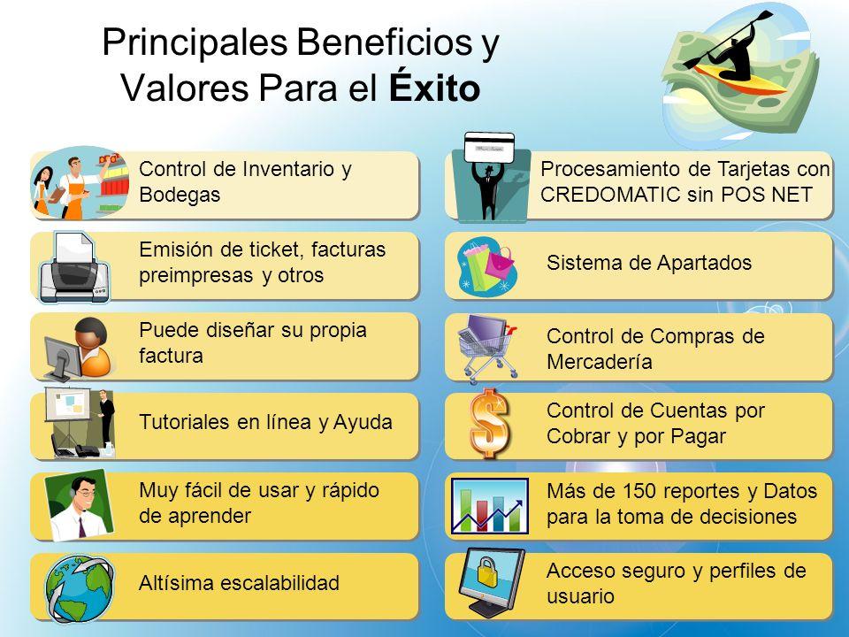 Principales Beneficios y Valores Para el Éxito Control de Inventario y Bodegas Emisión de ticket, facturas preimpresas y otros Puede diseñar su propia