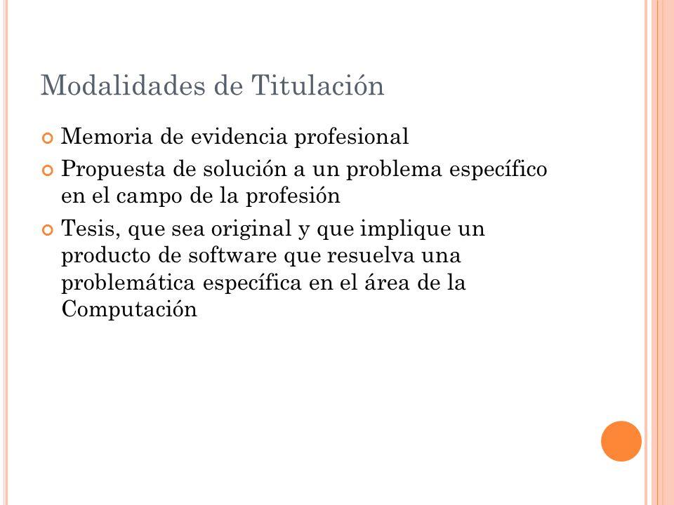 Modalidades de Titulación Memoria de evidencia profesional Propuesta de solución a un problema específico en el campo de la profesión Tesis, que sea o