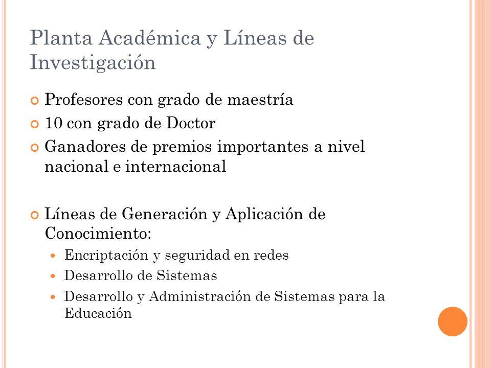 Planta Académica y Líneas de Investigación Profesores con grado de maestría 10 con grado de Doctor Ganadores de premios importantes a nivel nacional e