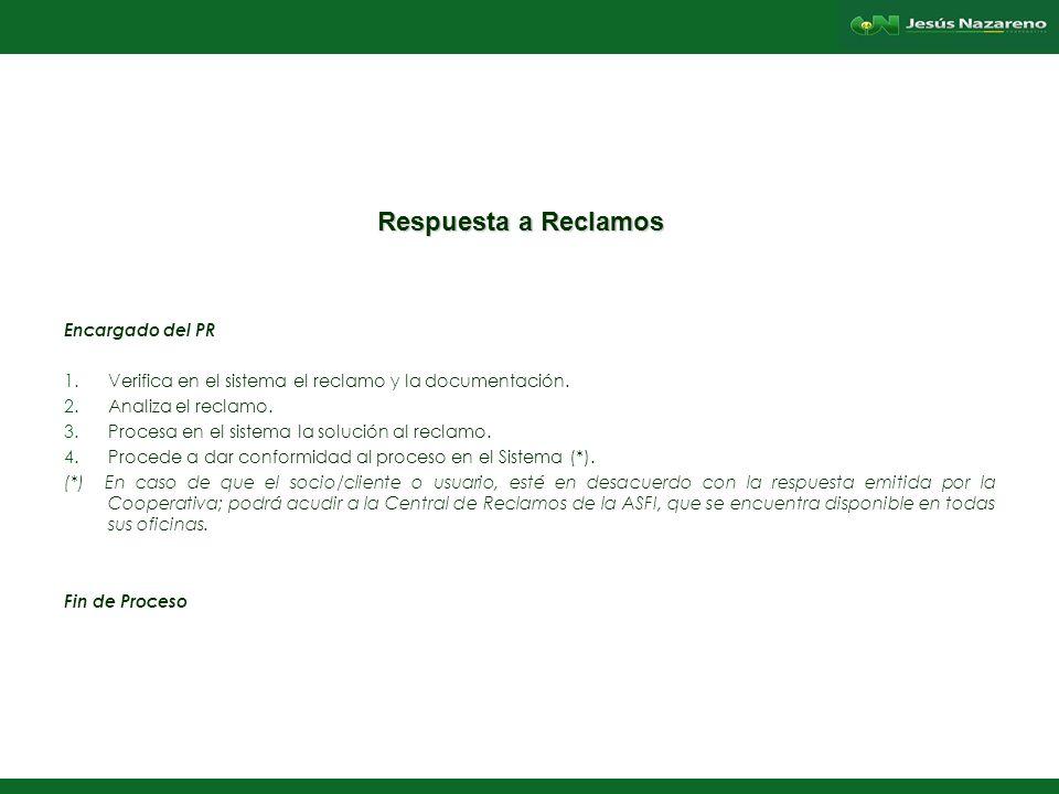 Lorena Aguilera Franco Respuesta a Reclamos Encargado del PR 1.Verifica en el sistema el reclamo y la documentación.