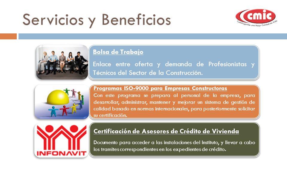 Servicios y Beneficios Bolsa de Trabajo Enlace entre oferta y demanda de Profesionistas y Técnicos del Sector de la Construcción. Bolsa de Trabajo Enl