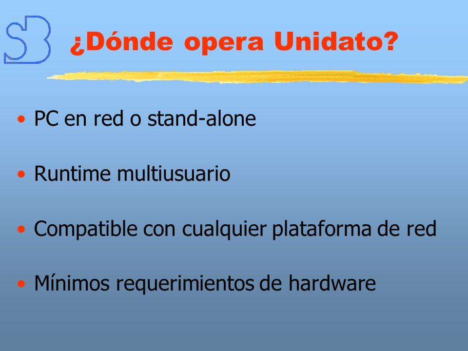PC en red o stand-alone Runtime multiusuario Compatible con cualquier plataforma de red Mínimos requerimientos de hardware ¿Dónde opera Unidato?