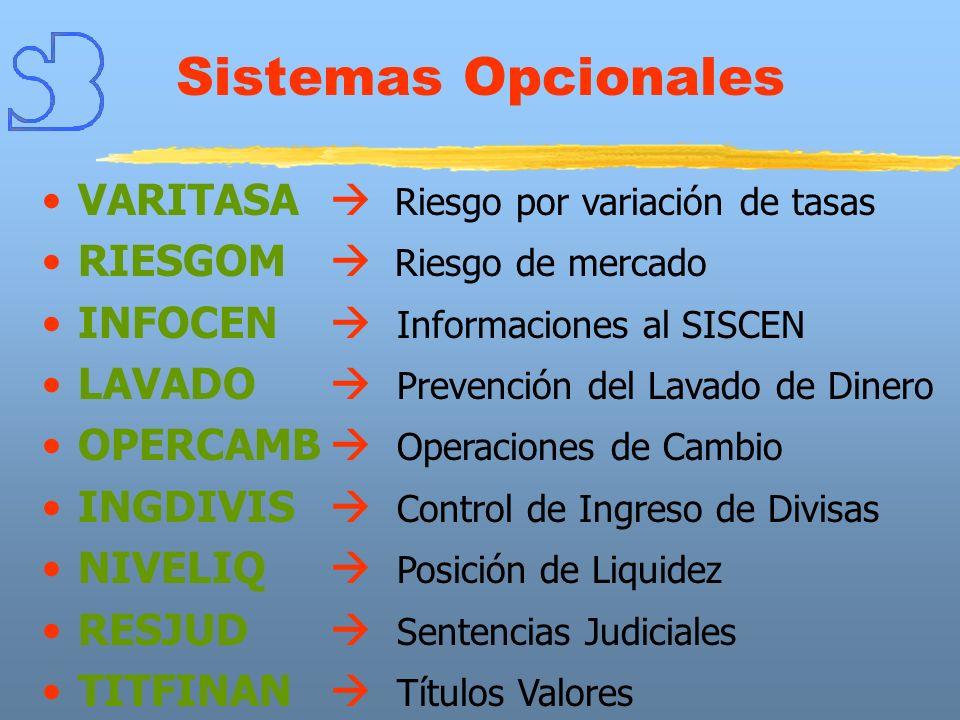 Sistemas Opcionales VARITASA Riesgo por variación de tasas RIESGOM Riesgo de mercado INFOCEN Informaciones al SISCEN LAVADO Prevención del Lavado de D