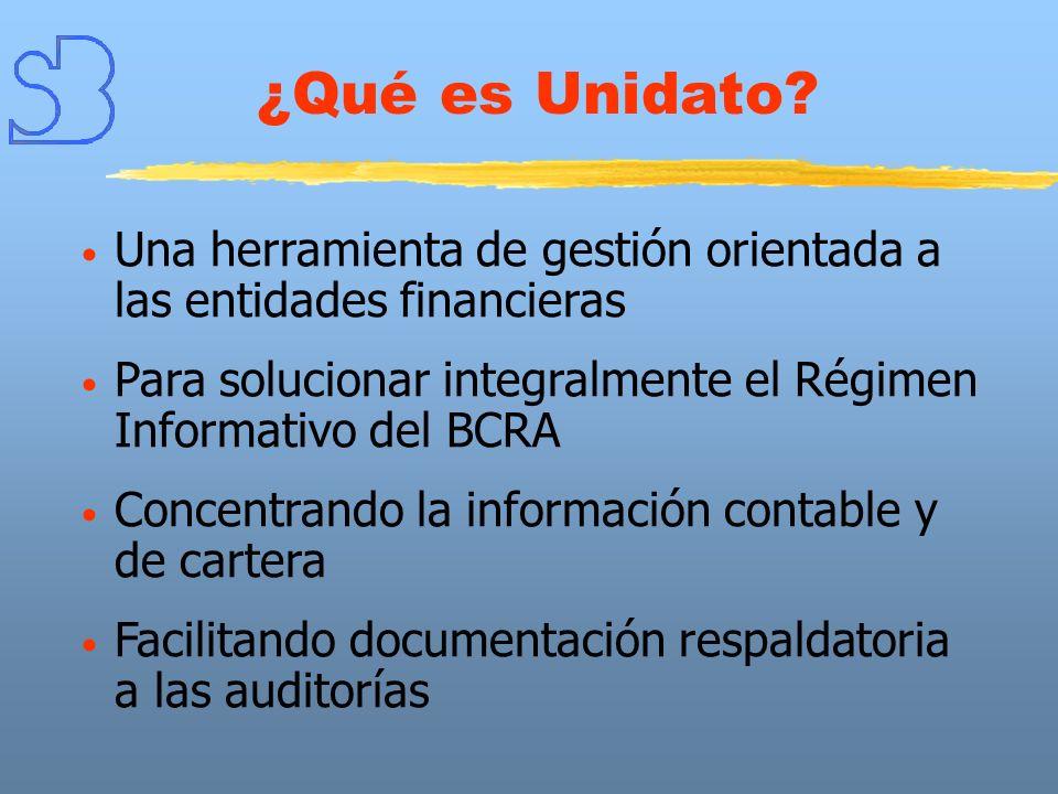 ¿Qué es Unidato? Una herramienta de gestión orientada a las entidades financieras Para solucionar integralmente el Régimen Informativo del BCRA Concen