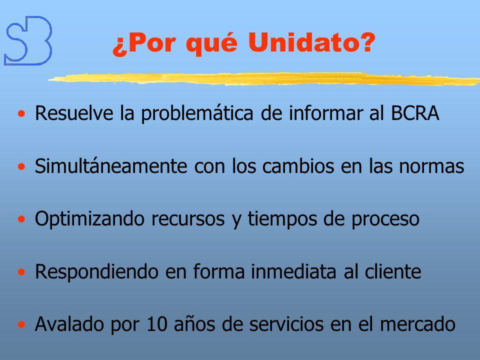 Resuelve la problemática de informar al BCRA Simultáneamente con los cambios en las normas Optimizando recursos y tiempos de proceso Respondiendo en f