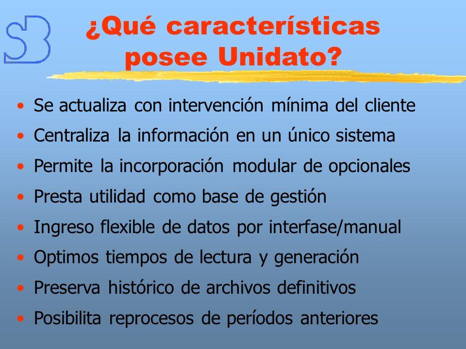 ¿Qué características posee Unidato? Se actualiza con intervención mínima del cliente Centraliza la información en un único sistema Permite la incorpor
