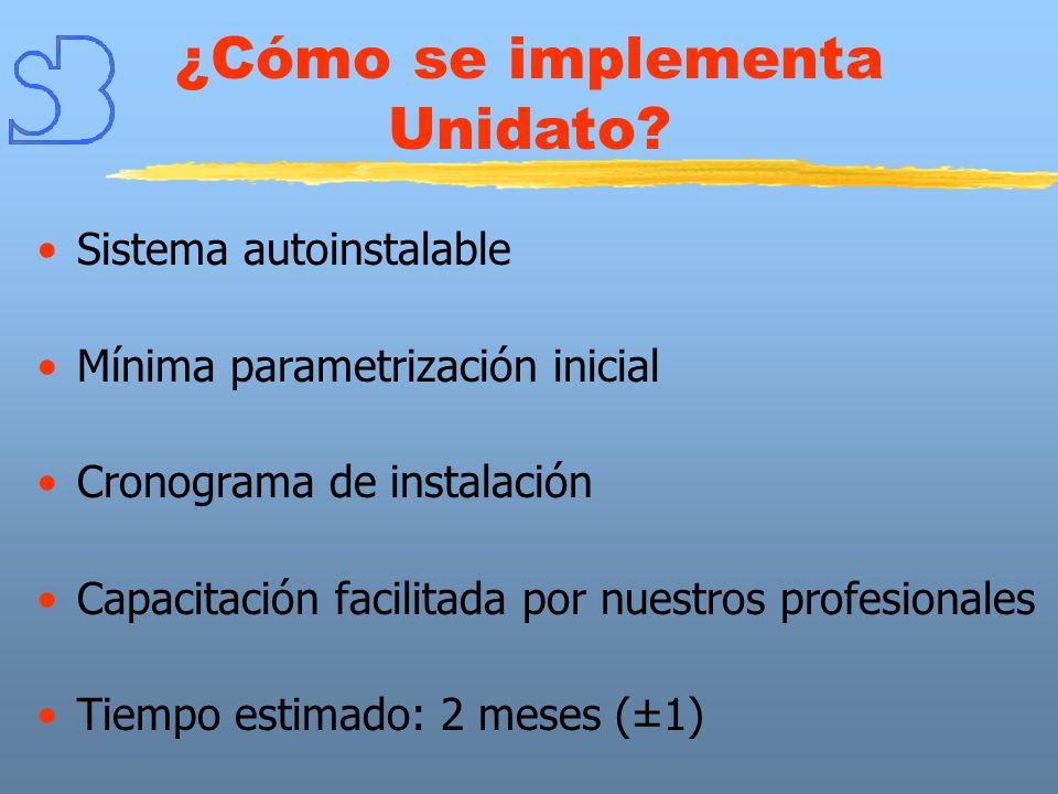 Sistema autoinstalable Mínima parametrización inicial Cronograma de instalación Capacitación facilitada por nuestros profesionales Tiempo estimado: 2