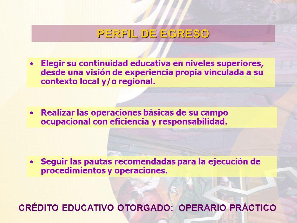 PERFIL DE EGRESO CRÉDITO EDUCATIVO OTORGADO: OPERARIO PRÁCTICO Elegir su continuidad educativa en niveles superiores, desde una visión de experiencia
