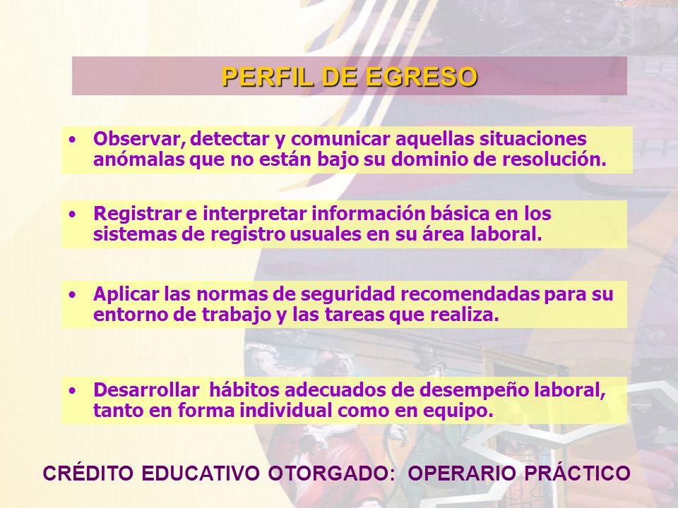 PERFIL DE EGRESO CRÉDITO EDUCATIVO OTORGADO: OPERARIO PRÁCTICO Observar, detectar y comunicar aquellas situaciones anómalas que no están bajo su domin