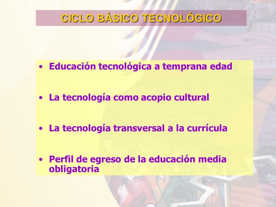 CICLO BÁSICO TECNOLÓGICO Educación tecnológica a temprana edad La tecnología como acopio cultural La tecnología transversal a la currícula Perfil de e