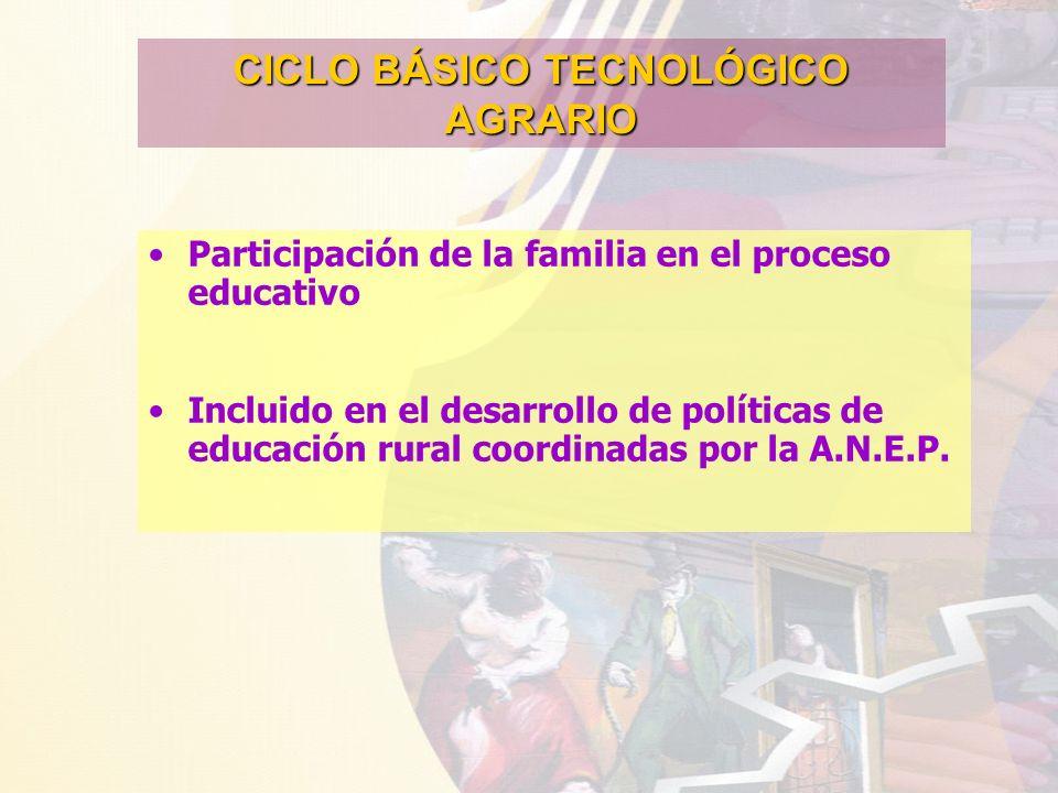 CICLO BÁSICO TECNOLÓGICO AGRARIO Participación de la familia en el proceso educativo Incluido en el desarrollo de políticas de educación rural coordin