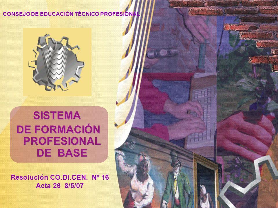 CONSEJO DE EDUCACIÓN TÉCNICO PROFESIONAL Resolución CO.DI.CEN. Nº 16 Acta 26 8/5/07 SISTEMA DE FORMACIÓN PROFESIONAL DE BASE DE FORMACIÓN PROFESIONAL
