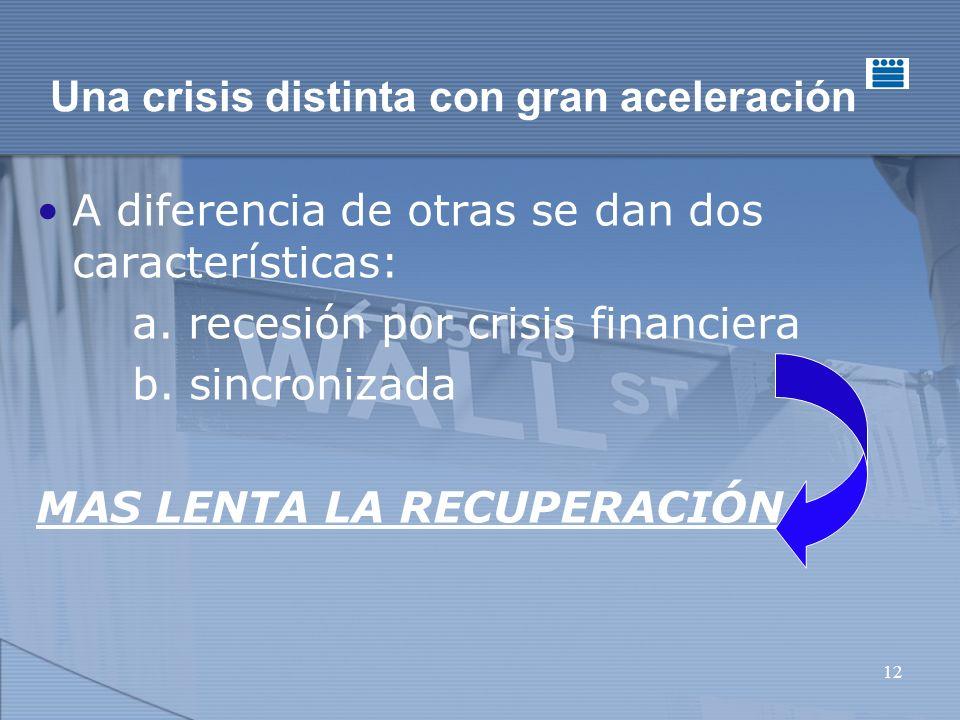 12 Una crisis distinta con gran aceleración A diferencia de otras se dan dos características: a.
