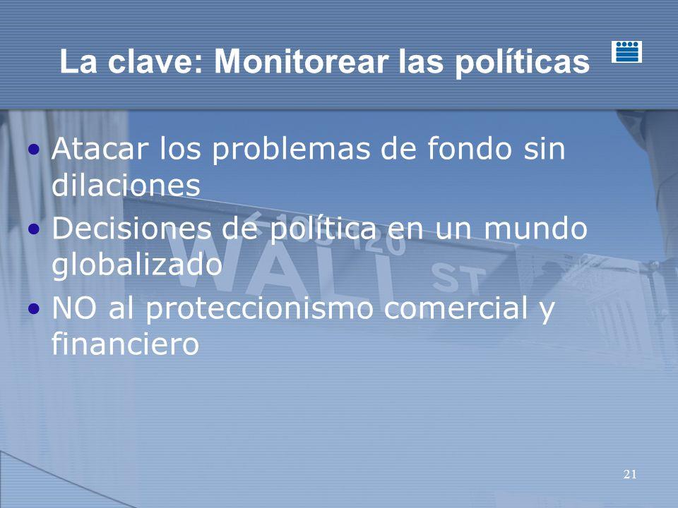 21 La clave: Monitorear las políticas Atacar los problemas de fondo sin dilaciones Decisiones de política en un mundo globalizado NO al proteccionismo comercial y financiero