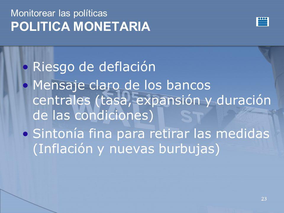 23 Monitorear las políticas POLITICA MONETARIA Riesgo de deflación Mensaje claro de los bancos centrales (tasa, expansión y duración de las condiciones) Sintonía fina para retirar las medidas (Inflación y nuevas burbujas)