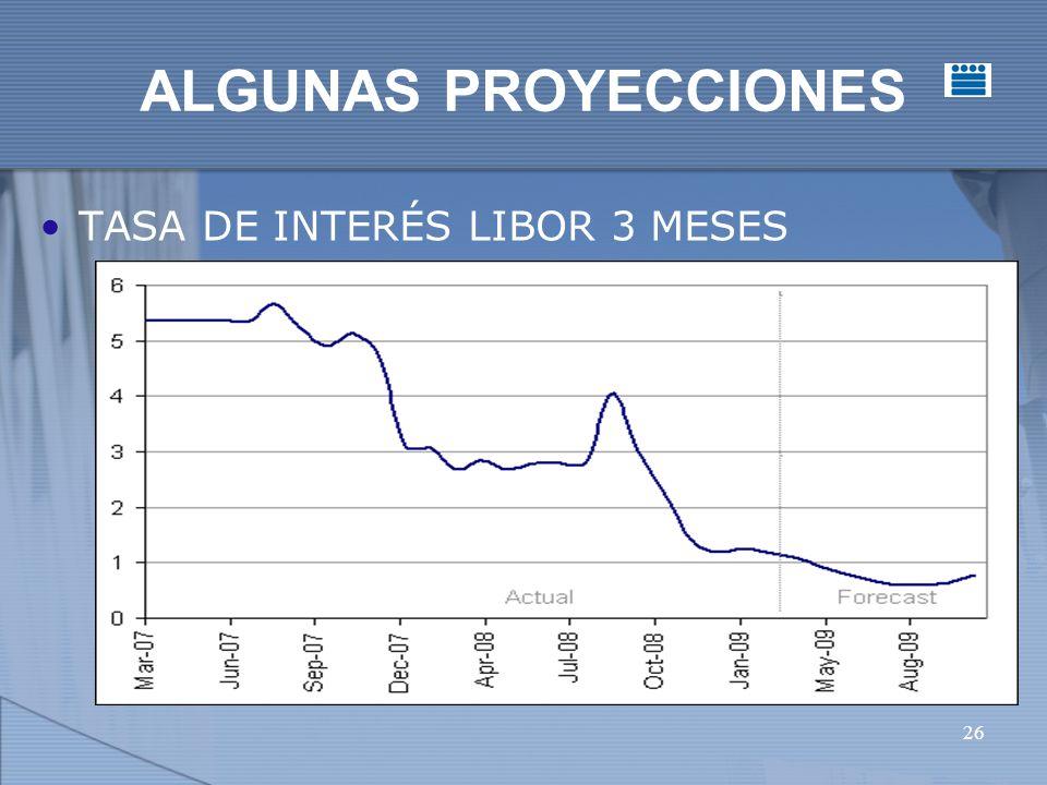 26 ALGUNAS PROYECCIONES TASA DE INTERÉS LIBOR 3 MESES