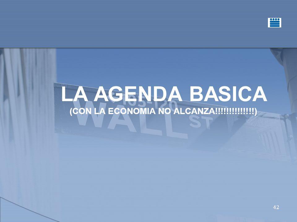 42 LA AGENDA BASICA (CON LA ECONOMIA NO ALCANZA!!!!!!!!!!!!!!)