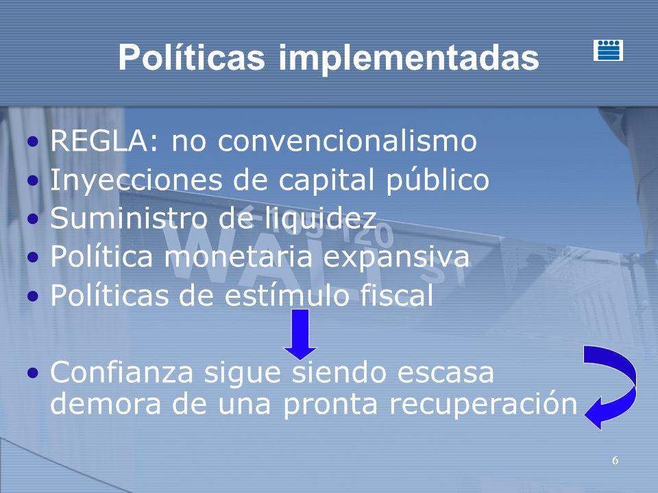 6 Políticas implementadas REGLA: no convencionalismo Inyecciones de capital público Suministro de liquidez Política monetaria expansiva Políticas de estímulo fiscal Confianza sigue siendo escasa demora de una pronta recuperación