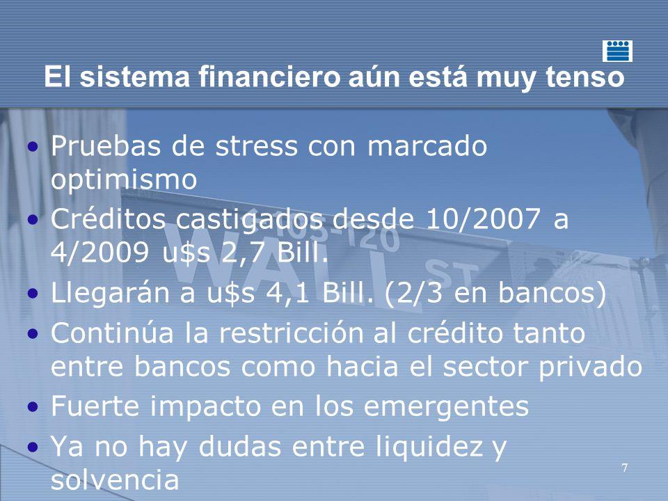 7 El sistema financiero aún está muy tenso Pruebas de stress con marcado optimismo Créditos castigados desde 10/2007 a 4/2009 u$s 2,7 Bill.