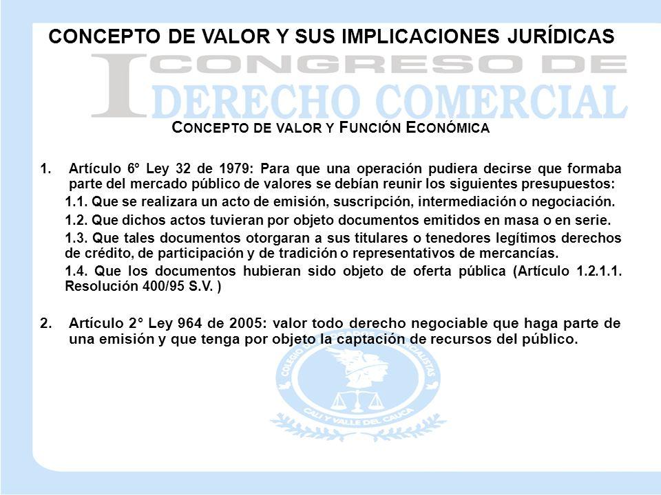 C ONCEPTO DE VALOR Y F UNCIÓN E CONÓMICA 1.