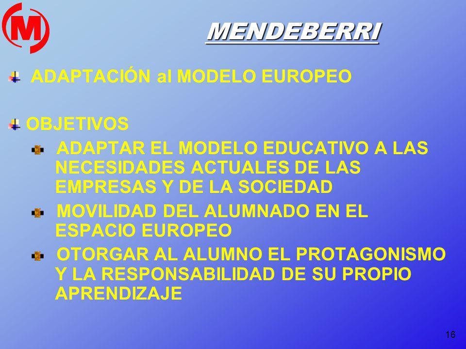 16 MENDEBERRI ADAPTACIÓN al MODELO EUROPEO OBJETIVOS ADAPTAR EL MODELO EDUCATIVO A LAS NECESIDADES ACTUALES DE LAS EMPRESAS Y DE LA SOCIEDAD MOVILIDAD