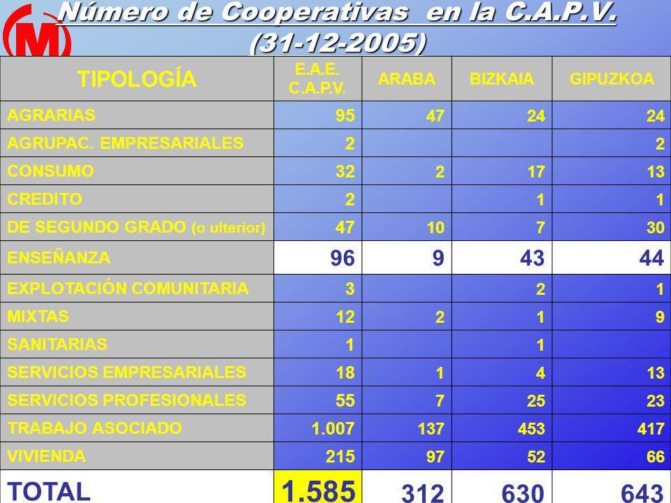 20 Número de Cooperativas en la C.A.P.V. (31-12-2005) TIPOLOGÍA E.A.E. C.A.P.V. ARABABIZKAIAGIPUZKOA AGRARIAS 95 4724 AGRUPAC. EMPRESARIALES 2 2 CONSU