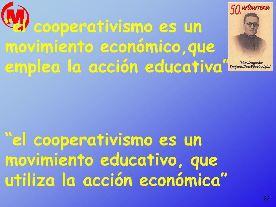 22 el cooperativismo es un movimiento económico,que emplea la acción educativa el cooperativismo es un movimiento educativo, que utiliza la acción eco