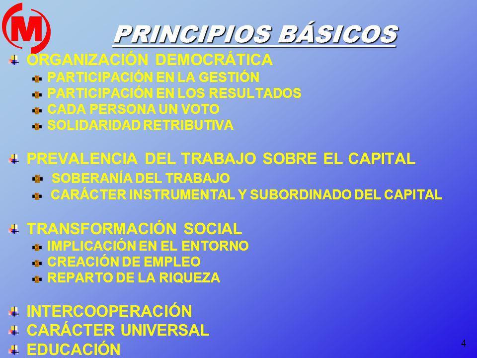 4 PRINCIPIOS BÁSICOS ORGANIZACIÓN DEMOCRÁTICA PARTICIPACIÓN EN LA GESTIÓN PARTICIPACIÓN EN LOS RESULTADOS CADA PERSONA UN VOTO SOLIDARIDAD RETRIBUTIVA