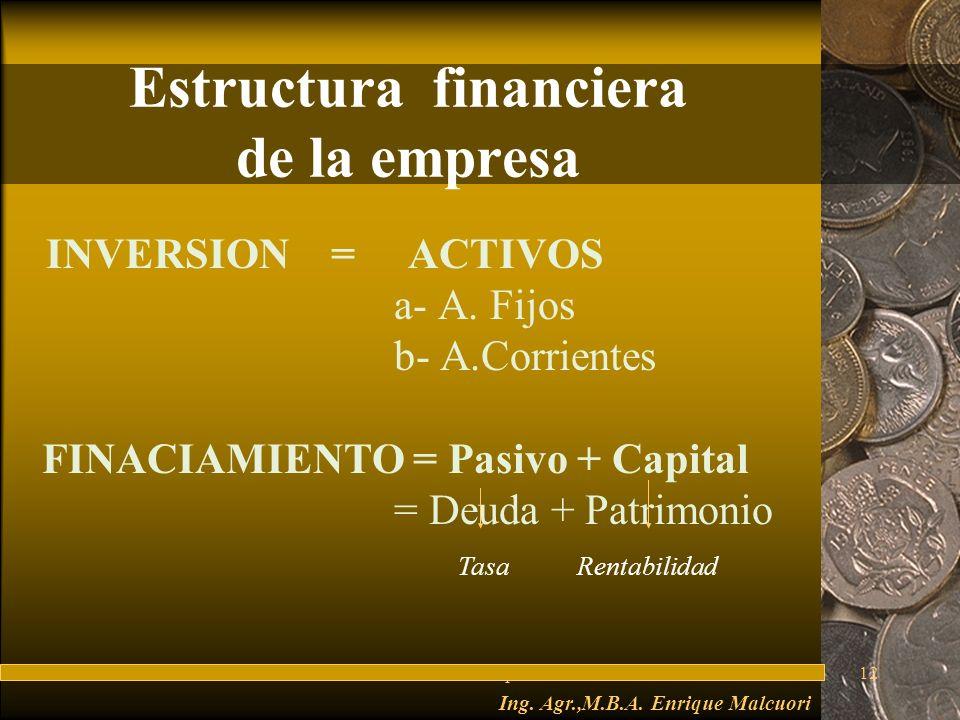 FuturesFred Thompson12 Estructura financiera de la empresa INVERSION = ACTIVOS a- A.