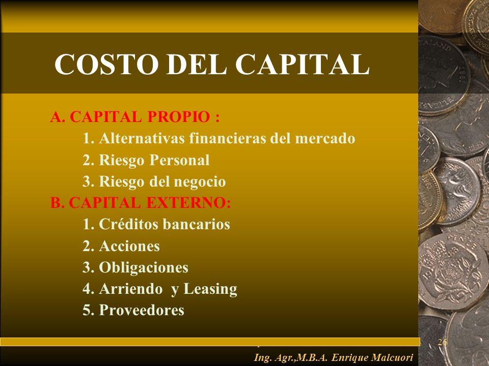 FuturesFred Thompson26 COSTO DEL CAPITAL A.CAPITAL PROPIO : 1.
