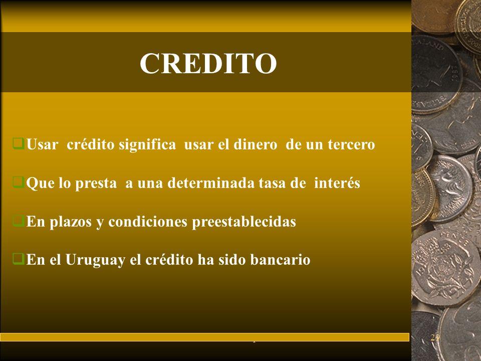 FuturesFred Thompson29 CREDITO Usar crédito significa usar el dinero de un tercero Que lo presta a una determinada tasa de interés En plazos y condiciones preestablecidas En el Uruguay el crédito ha sido bancario