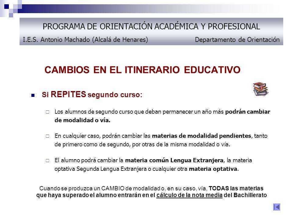 CAMBIOS EN EL ITINERARIO EDUCATIVO Si REPITES segundo curso: Los alumnos de segundo curso que deban permanecer un año más podrán cambiar de modalidad