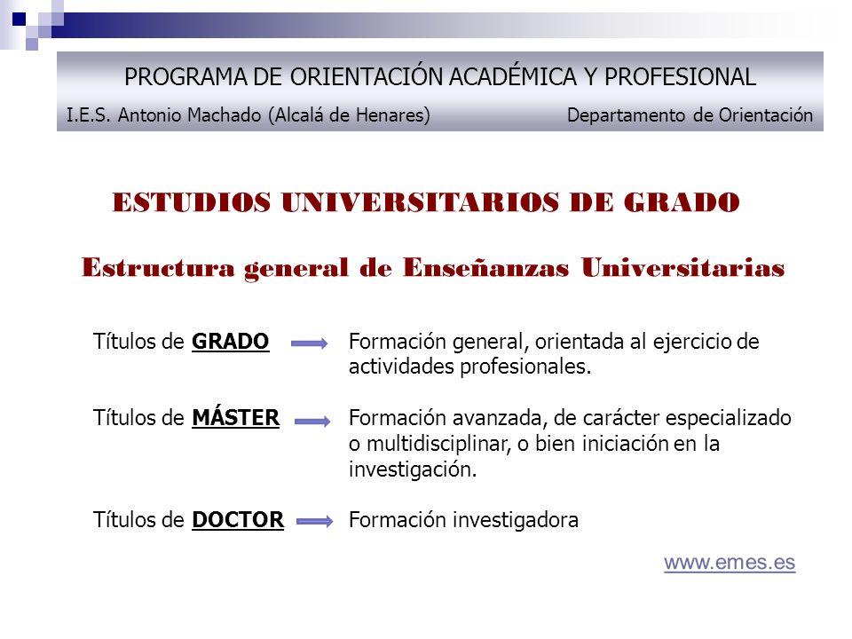 ESTUDIOS UNIVERSITARIOS DE GRADO PROGRAMA DE ORIENTACIÓN ACADÉMICA Y PROFESIONAL I.E.S. Antonio Machado (Alcalá de Henares) Departamento de Orientació