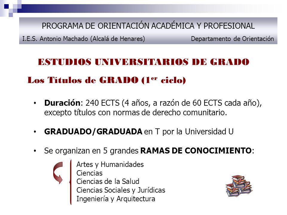 ESTUDIOS UNIVERSITARIOS DE GRADO PROGRAMA DE ORIENTACIÓN ACADÉMICA Y PROFESIONAL I.E.S.