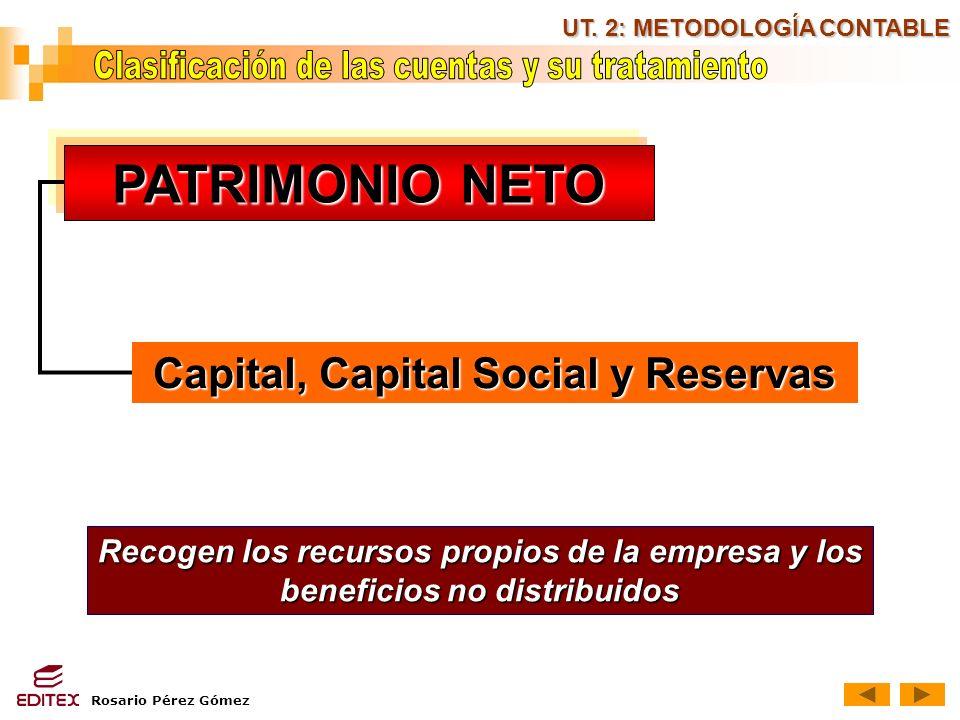 Rosario Pérez Gómez UT. 2: METODOLOGÍA CONTABLE PATRIMONIO NETO PATRIMONIO NETO Recogen los recursos propios de la empresa y los beneficios no distrib