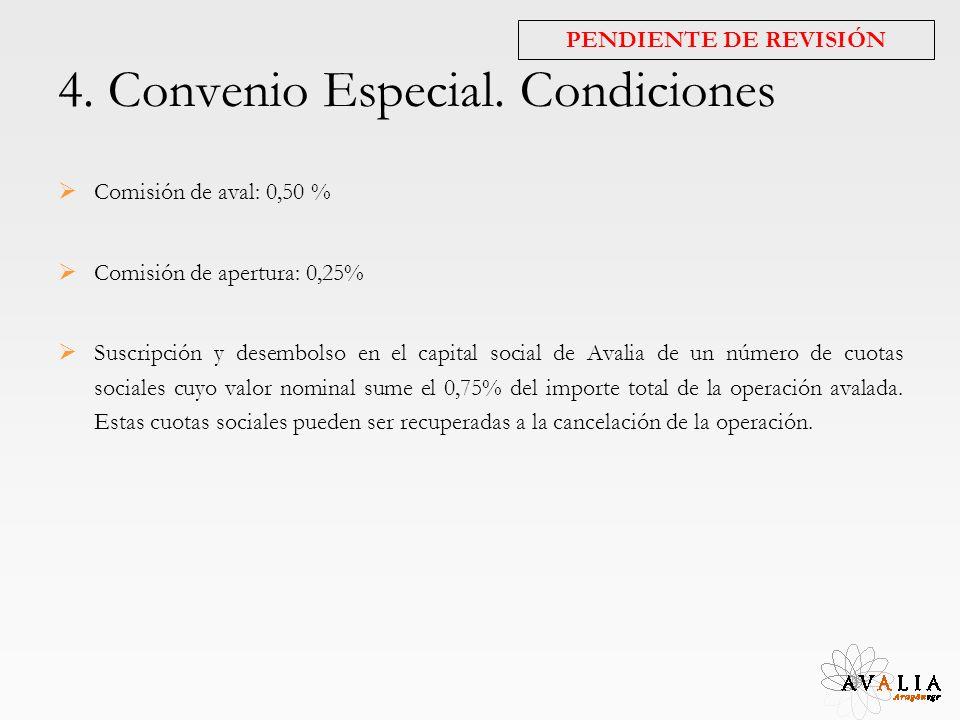 4. Convenio Especial. Condiciones Comisión de aval: 0,50 % Comisión de apertura: 0,25% Suscripción y desembolso en el capital social de Avalia de un n