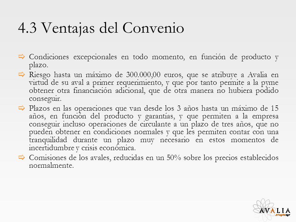 4.3 Ventajas del Convenio Condiciones excepcionales en todo momento, en función de producto y plazo. Riesgo hasta un máximo de 300.000,00 euros, que s