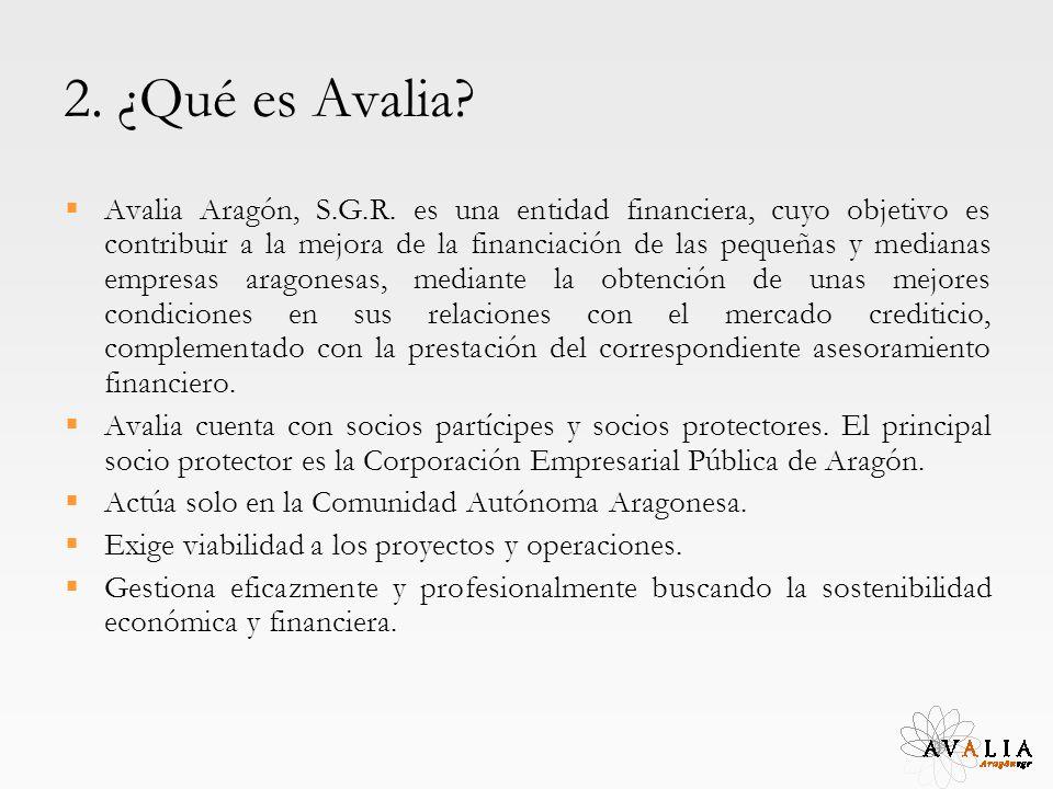 2. ¿Qué es Avalia? Avalia Aragón, S.G.R. es una entidad financiera, cuyo objetivo es contribuir a la mejora de la financiación de las pequeñas y media