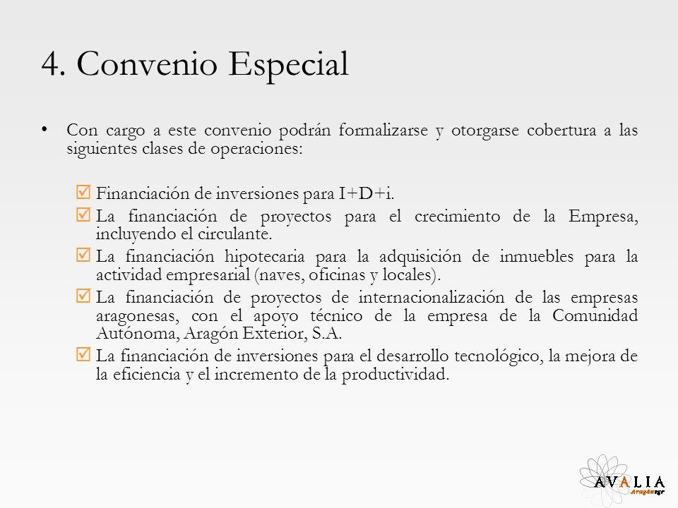 4. Convenio Especial Con cargo a este convenio podrán formalizarse y otorgarse cobertura a las siguientes clases de operaciones: Financiación de inver