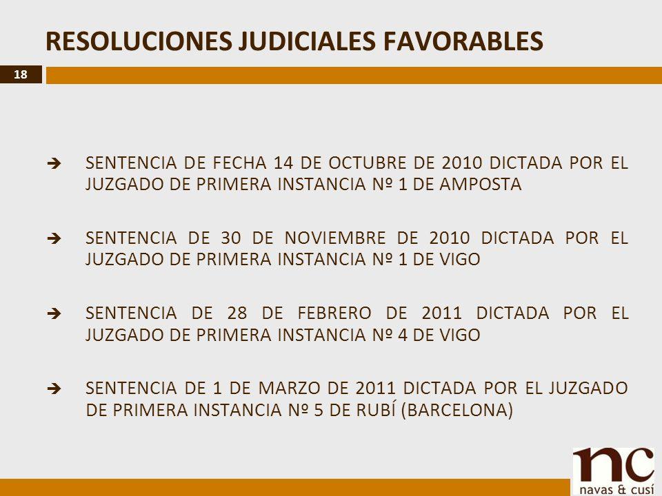 18 RESOLUCIONES JUDICIALES FAVORABLES SENTENCIA DE FECHA 14 DE OCTUBRE DE 2010 DICTADA POR EL JUZGADO DE PRIMERA INSTANCIA Nº 1 DE AMPOSTA SENTENCIA DE 30 DE NOVIEMBRE DE 2010 DICTADA POR EL JUZGADO DE PRIMERA INSTANCIA Nº 1 DE VIGO SENTENCIA DE 28 DE FEBRERO DE 2011 DICTADA POR EL JUZGADO DE PRIMERA INSTANCIA Nº 4 DE VIGO SENTENCIA DE 1 DE MARZO DE 2011 DICTADA POR EL JUZGADO DE PRIMERA INSTANCIA Nº 5 DE RUBÍ (BARCELONA)